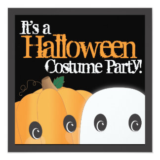 Spooky Cute Pumpkin Ghost Halloween Costume Party Card