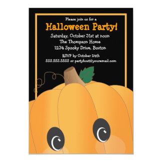 Spooky Cute Pumpkin Head Halloween Party Card