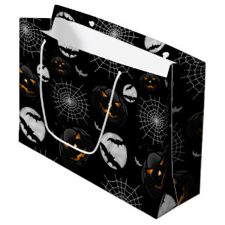 Spooky Dark Halloween Pattern Large Gift Bag