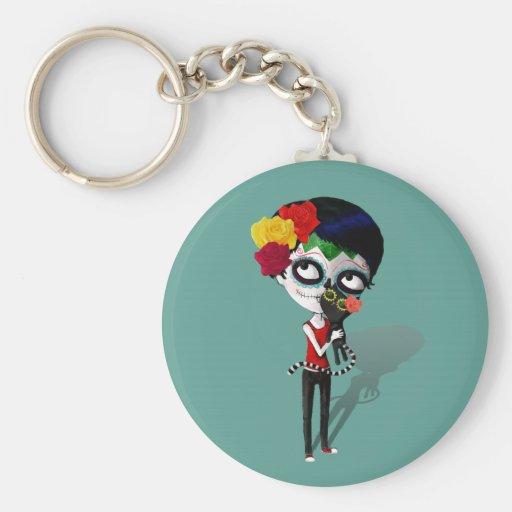 Spooky Dia de Los Muertos Girl Keychains
