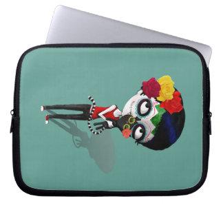 Spooky Dia de Los Muertos Girl Laptop Sleeve