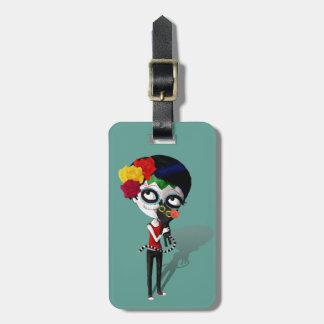 Spooky Dia de Los Muertos Girl Luggage Tag