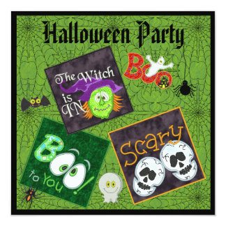 Spooky Embroidery Patches & Spider Webs Halloween 13 Cm X 13 Cm Square Invitation Card