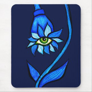 Spooky Eye Flower Creepy Art In Blue Mouse Mat
