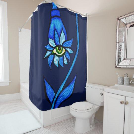 Spooky Eye Flower Creepy Art In Blue Shower Curtain