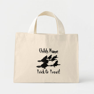 spooky flying witches on broomsticks halloween mini tote bag