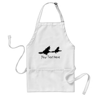 spooky flying witches on broomsticks halloween standard apron