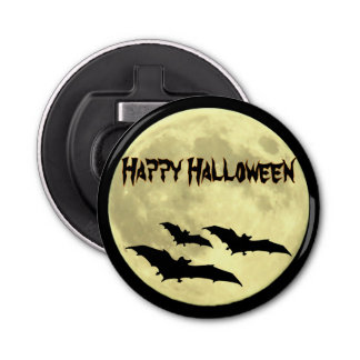 Spooky Full Moon and Bats Halloween Bottle Opener