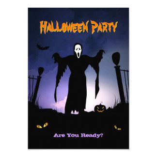 Spooky Ghost Graveyard Pumpkin Halloween Party Card