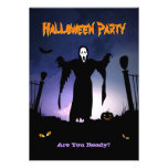 Spooky Ghost Graveyard Pumpkin Halloween Party Personalized Invites