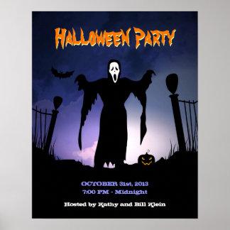 Spooky Ghost Graveyard Pumpkin Halloween Party Poster
