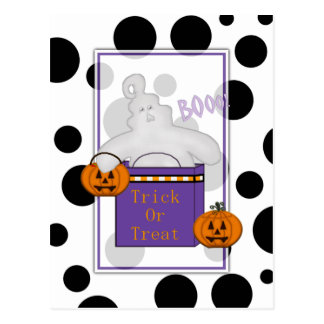 Spooky Ghost Trick or Treat Postcard