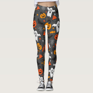 Spooky Ghosts and pumpkins Leggings