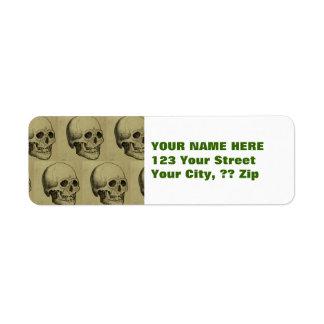 Spooky Gothic Skulls Pattern Halloween Return Address Label
