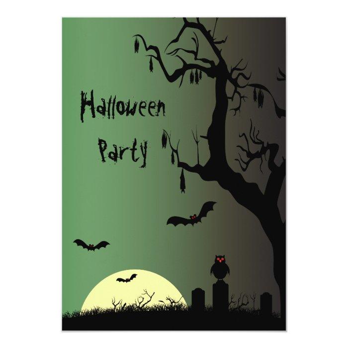 Spooky Graveyard & Creepy Tree Halloween Party 13 Cm X 18 Cm Invitation Card