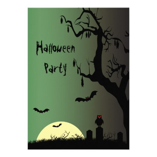 Spooky Graveyard & Creepy Tree Halloween Party Personalised Announcement