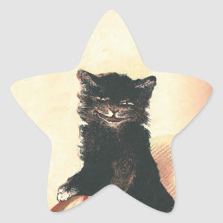 Spooky Halloween Black Cat Star Sticker