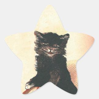 Spooky Halloween Black Cat Star Sticker