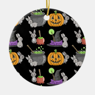 Spooky Halloween Bunnies Round Ceramic Decoration