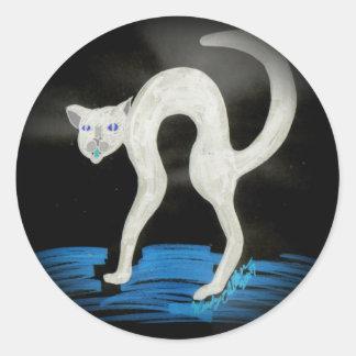 Spooky Halloween Cat Round Sticker