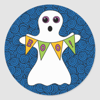 Spooky Halloween Ghost Boo Classic Round Sticker