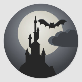 Spooky Halloween Haunted House on Hill Classic Round Sticker