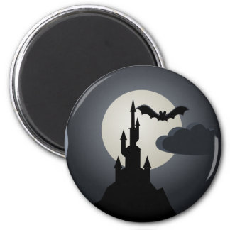 Spooky Halloween Haunted House on Hill Magnets
