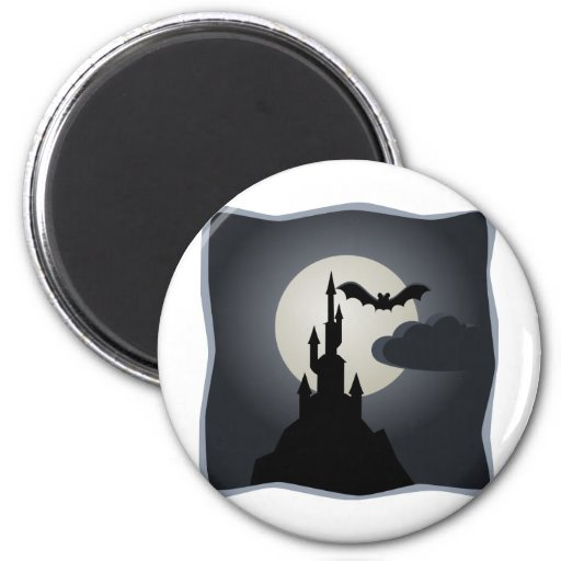 Spooky Halloween Haunted House on Hill Fridge Magnet