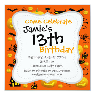 Spooky Halloween Haunted House with Bats Black Cat 13 Cm X 13 Cm Square Invitation Card