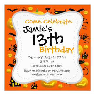 Spooky Halloween Haunted House with Bats Black Cat Personalized Invite