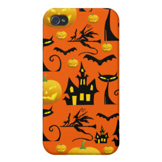 Spooky Halloween Haunted House with Bats Black Cat iPhone 4 Case