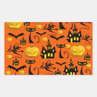 Spooky Halloween Haunted House with Bats Black Cat Rectangular Sticker