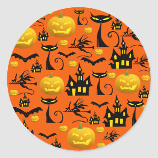 Spooky Halloween Haunted House with Bats Black Cat Round Sticker