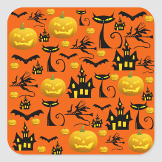 Spooky Halloween Haunted House with Bats Black Cat Square Sticker