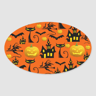 Spooky Halloween Haunted House with Bats Black Cat Sticker