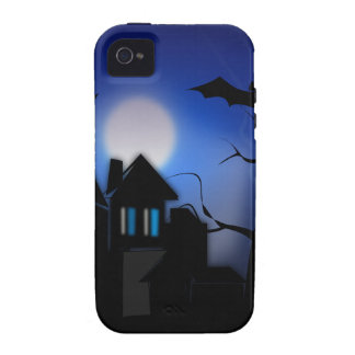 Spooky Halloween Haunted House with Bats Vibe iPhone 4 Cases