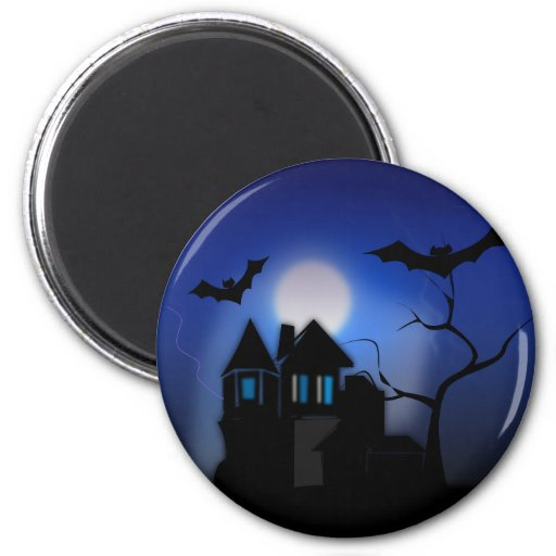 Spooky Halloween Haunted House with Bats Fridge Magnets