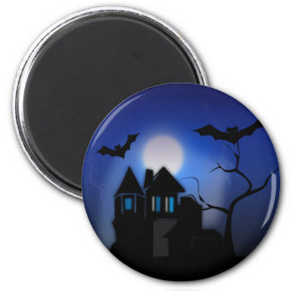 Spooky Halloween Haunted House with Bats Magnets