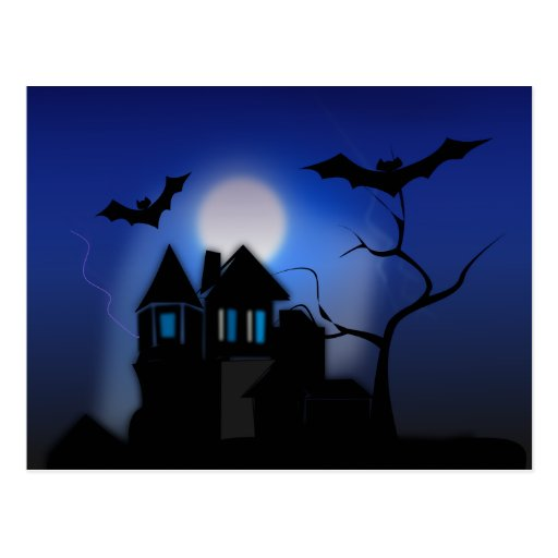 Spooky Halloween Haunted House with Bats Postcards