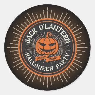 Spooky Halloween Jack O' Lantern. Classic Round Sticker