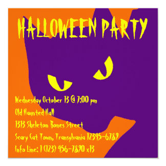Spooky Halloween Kitty Cat 13 Cm X 13 Cm Square Invitation Card