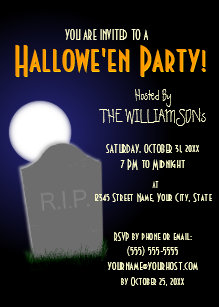 spooky halloween moon and tombstone invitation