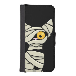 Spooky Halloween Mummy Cat Phone Wallet Cases