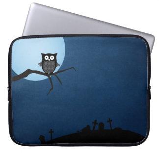 Spooky halloween owl laptop sleeve