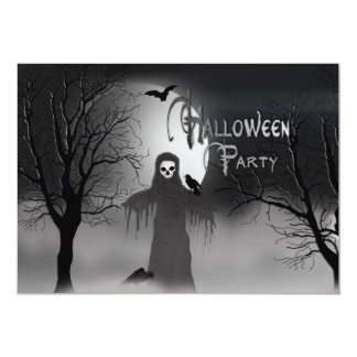 SPOOKY HALLOWEEN PARTY INVITATION -SCARECROW GHOST