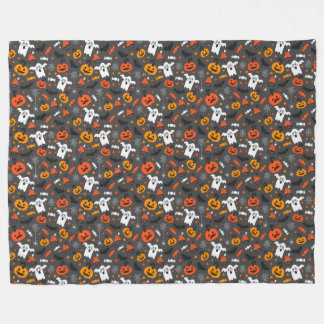 Spooky Halloween Pattern Fleece Blanket