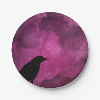 Spooky Halloween Raven Prints 7 Inch Paper Plate