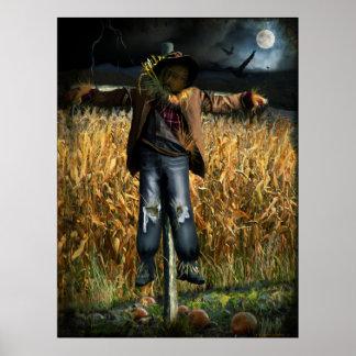 Spooky Halloween Scarecrow Poster