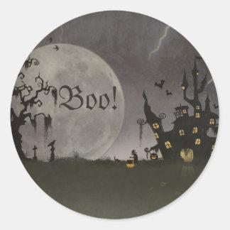 Spooky Halloween Scene Round Sticker