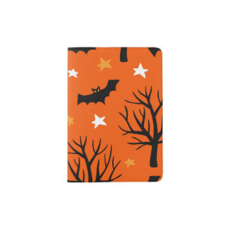 Spooky Halloween Tree with Bats and Stars Passport Holder